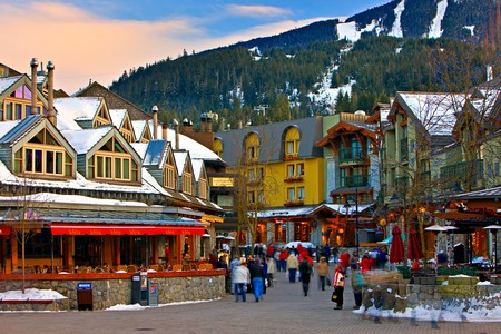 Pedestrian activity along the shops and restaurants in Whistler Village