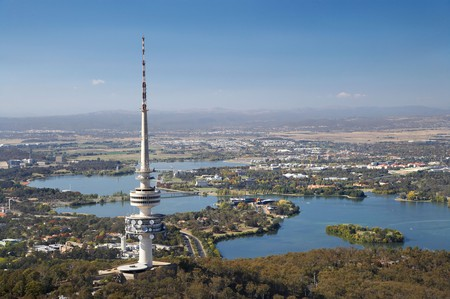 Telstra Tower Black Mountain and Lake Burley Griffin Canberra ACT Australia aerial