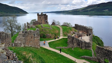 Explore the he ruins of Urquhart Castle beside Loch Ness in Scotland, UK