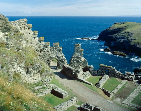 Tintagel Castle. The Castle entrance. View to the sea.