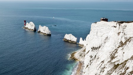 The Needles, with its red-and-white lighthouse, are one of the Isle of Wight's most well-known sights