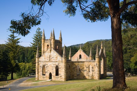 Ruins of the Church at the Port Arthur Historic Site.  Port Arthur, Tasmania, Australia