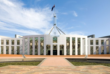 The facade of the Federal Parliament Building, Canberra, Australian Capital Territory, Australia