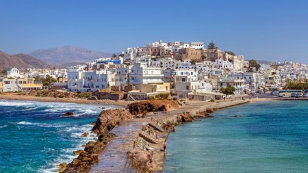 Whitewashed buildings with blue shutters give the Chora of Naxos its distinctive look