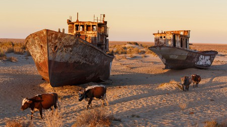Abandoned ships sit on what was once the Aral Sea, then the fourth largest body of inland water in the world