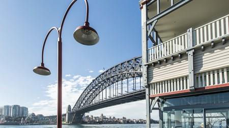 Sydney Harbour Bridge as seen from Pier One in Walsh Bay near the Rocks precinct