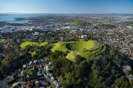 Volcanic crater, Mt Eden Domain, ( historic Maori pa site ), Auckland, North Island, New Zealand - aerial