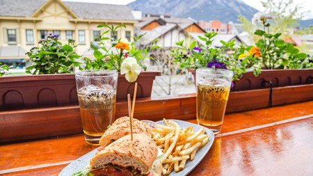Enjoy beer and a bite with a view at the Banff Ave Brewing C, in the Rockies