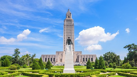 The Louisiana State Capitol is one of many landmarks to visit in Baton Rouge