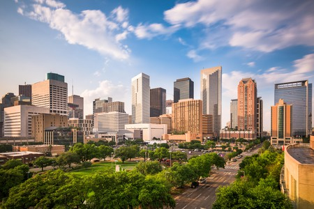 Picture perfect downtown Houston city park and skyline
