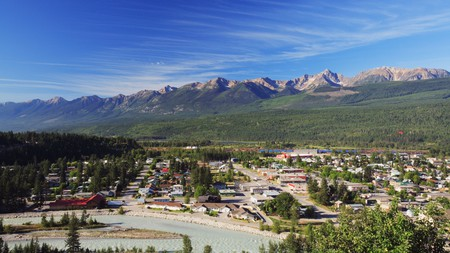 One of the most beautiful towns in British Columbia is Golden, overlooked by the Purcell Mountains