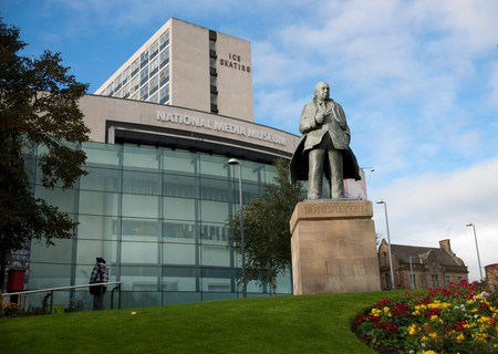 JB Priestley Statue, National Science and Media Museum, Bradford, West Yorkshire, England