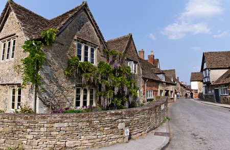 Houses in Lacock village, Wiltshire, England