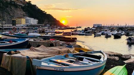 Enjoy the sunset from the Marina Grande in Sorrento, Italy.