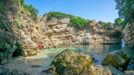 Bagni della Regina Giovanna natural pool, near Sorrento, is a popular spot for locals and adventurous holidaymakers