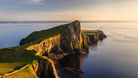The cliffs and lighthouse at Neist Point on the Isle of Skye are at their most picturesque at sunset