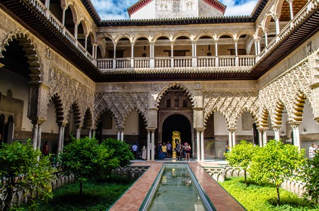 Beautiful courtyard  of Real Alcazar palace in Seville, Spain. A unesco world heritage site