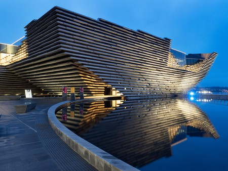 V&A Dundee design museum designed by Kengo Kuma at Riverside Esplanade Dundee Scotland