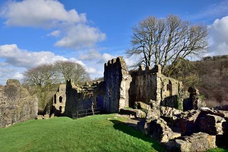 Okehampton castle ruins, Devon, UK