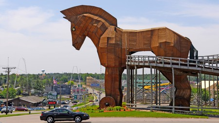 The Trojan horse is one of the rides at Mount Olympus Water and Theme Park in the Wisconsin Dells