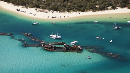 The Tangalooma Wrecks off Moreton Island are made up of 15 rusty ship hulls