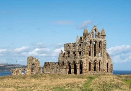 Whitby Abbey, a 13th century ruined Benedictine abbey in Whitby, Yorkshire, England, UK