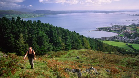A walk up Slieve Foye takes you high up above the town and the lough