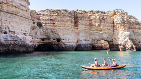 Kayaking is one of the many water sports you can try in Albufeira, Portugal