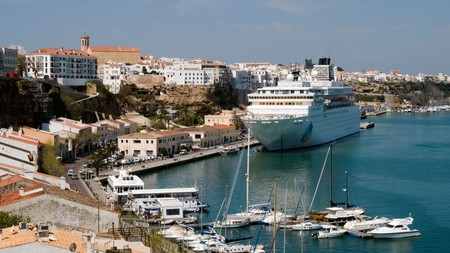 Mahón Port, Menorca, is a bustling area with shops, restaurants and bars