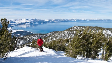 From the slopes of Heavenly Mountain Resort, you can take in Lake Tahoe below