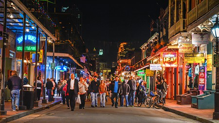 The lively Bourbon Street is a must-visit when in New Orleans
