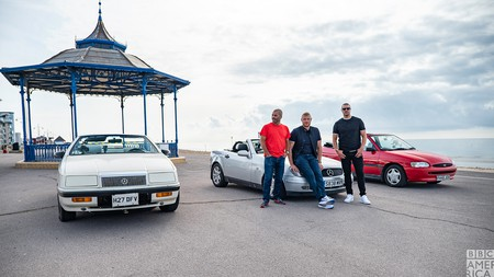 From left, Chris Harris, Freddie Flintoff and Paddy McGuinness. The Top Gear presenters took a UK road trip in series 28