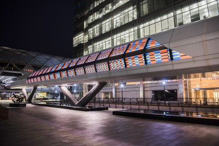 Camille Walala's revamp of Adams Plaza Bridge in Canary Wharf is one of the highlights of the London Mural Festival