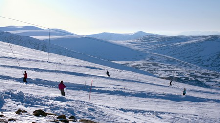 Scotland has more than 110 ski runs, including these at the Cairngorm Mountain ski resort