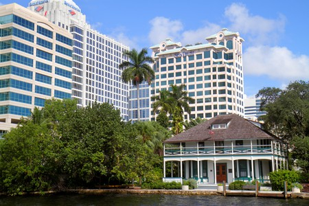 Florida, FL, South, Broward, Ft. Fort Lauderdale, New River, Stranahan House, pioneer historic home, city skyline cityscape, office, high rise rises s