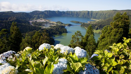 The crater and lakes at Sete Cidades provide one of the Azores' most dramatic and famous views