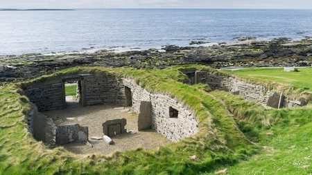 The man-made Knap of Howar on the island of Papa Westray, one of Scotland's Orkney islands, has stood for almost 6,000 years
