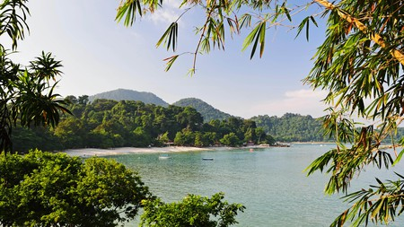Coral Beach on Pangkor's northwest coast offers stunning views of the neighbouring islands