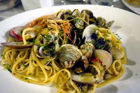 Linguine Vongole also know as Spaghetti with Clams.