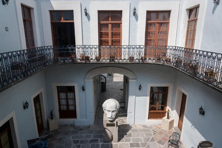 Regional Museum of Mexican Revolution located in the House Of The Serdan Brothers, Courtyard with Serdan sculpture, Puebla, Mexico