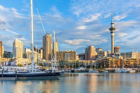 The stunning Auckland skyline as seen from the harbour in the evening