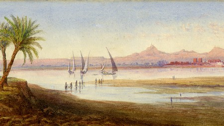 Across the Nile to Luxor, by Lord Henry Scott, 1832-1905; watercolour, heightened with white