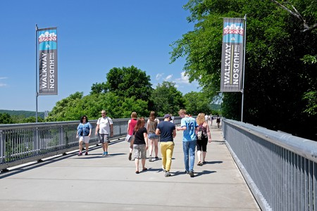 Pedestrians on the Walkway over the Hudson in upstate New York