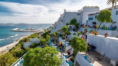 Cafe Hafa, overlooking the Bay of Tangier, Morocco, was popular with writers such as Paul Bowles