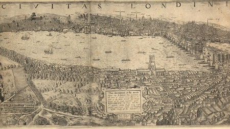 A bird's-eye view of the City of London, from Hampstead to St Dunstan in the east, 1600; engraving, after John Norden