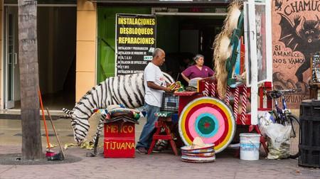 Zonkeys, donkeys painted with zebra stripes, are a landmark for tourist photos in Tijuana, Mexico.  Tourists pay to have their photos taken with the zonkey.