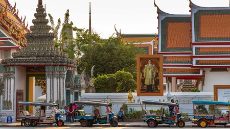 Tuk Tuk taxis in front of the Grand Palace