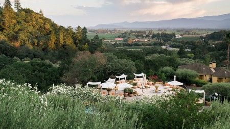 The pool terrace at Auberge du Soleil, one of the outstanding boutique hotels in Napa Valley, California