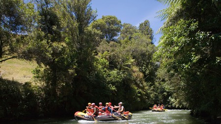 Whitewater rafters paddle over rapids along Kaituna River on summer afternoon