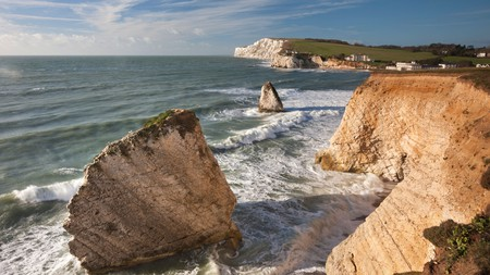 A clifftop view of Freshwater Bay, on the Isle of Wight